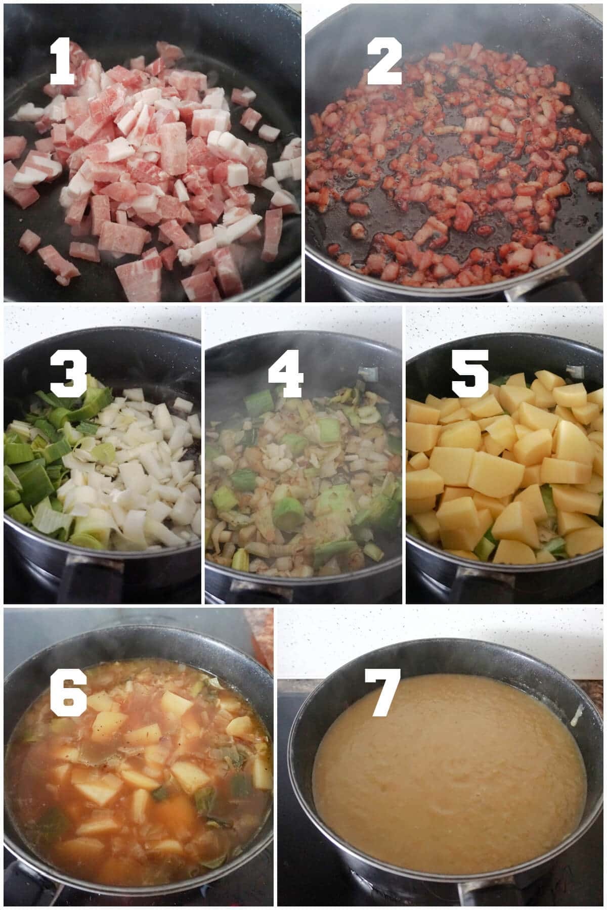 Collage of 7 photos to show how to make leek and potato soup with bacon