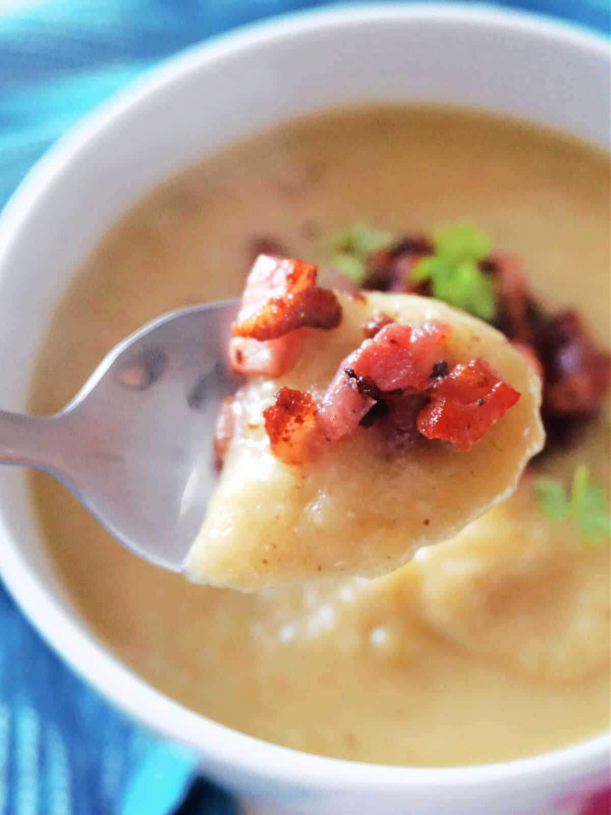 A spoonful of creamed leek and potato soup with bacon bits
