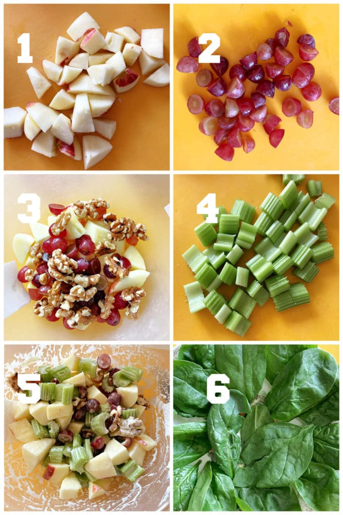 Collage of 6 photos to show how to make Waldorf salad