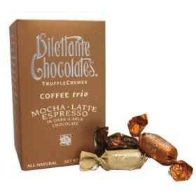 Coffee Trio Truffle Crèmes in Dark & Milk Chocolate – Mocha, Latte & Espresso – 10oz Gift Box – by Dilettante (3 Pack)
