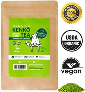 Kenko Matcha Green Tea Powder [USDA Organic] Japanese Culinary Grade Matcha Powder for Lattes Smoothies Baking -100g Bag [50 Servings]