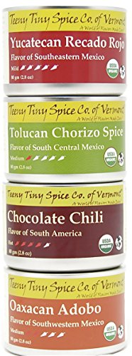 Teeny Tiny Spice Company Organic Mexican Spice Blends Variety Pack, Four 2.8 Oz Tins