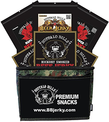 Buffalo Bills 6-Piece Premium Beef Jerky Sampler Camo 6-Pack Gift Cooler (six 3oz beef jerky packs)