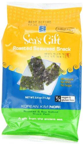 Sea's Gift Korean Seaweed Snack, Kim Nori, Roasted and Sea Salt, 0.4 Ounce