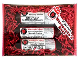 Wisconsin's Best, Smoked Summer Sausage Sampler Gift 3-pack, Smoked Original, Garlic and Jalapeno with Wisconsin Cheddar Cheese
