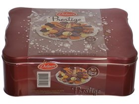 Delacre Belgian Chocolate Biscuit Prestige Luxury Assortment in a 45.8 Oz Tin Gift Box — RED