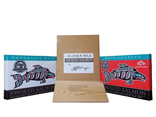 Alaska Smokehouse Smoked Salmon 8 oz Fillet Natural & 8 oz Fillet Sockeye with Cedar Serving Grilling Plank (2 Pack)