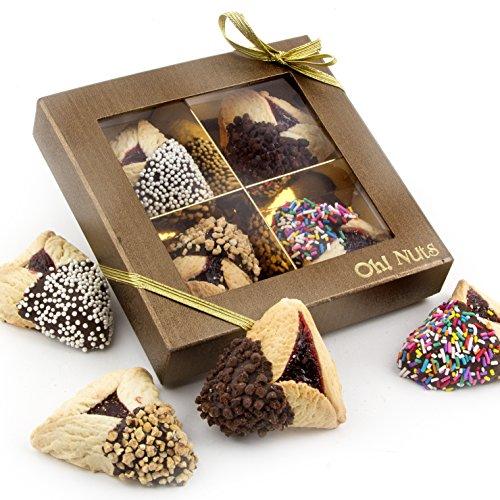 Purim Gift, Purim Hamantasch Gift, Chocolate Dipped Hamantashen Gift Box – Oh! Nuts (4 Pc. Chocolate Dipped Hamantaschen Gift Box)