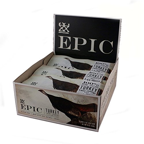Epic All Natural Meat Bar, 100% Natural, Turkey, Almond & Cranberry, 1.5oz bars 12 Count