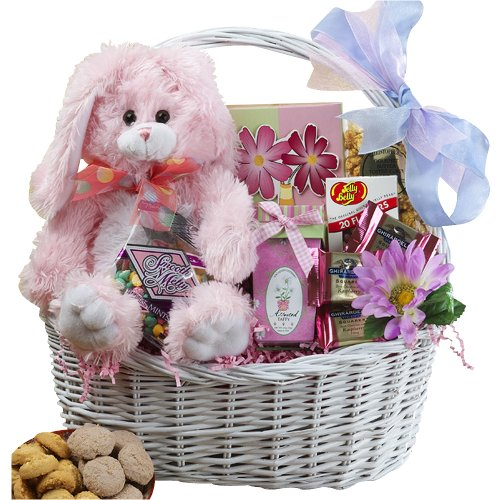 Art of Appreciation Gift Baskets My Special Bunny Easter Basket, Pink or Purple Plush Rabbit