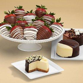 Shari's Berries – Dipped Cheesecake Trio and Full Dozen Swizzled Strawberries