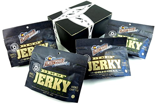 Sweetwood Cattle Co. All Natural Beef Jerky 2-Flavor Variety: Two 2 oz Resealable Packages Each of Original and Teriyaki in a BlackTie Box (4 Items Total)