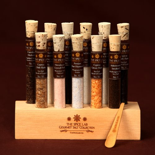 Gourmet Sea Salt Sampler 2 – 11 Artisanal Salts in a handmade Wooden Base – Explore the world of salt