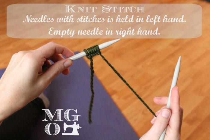 Knit Stitch Tutorial step 1