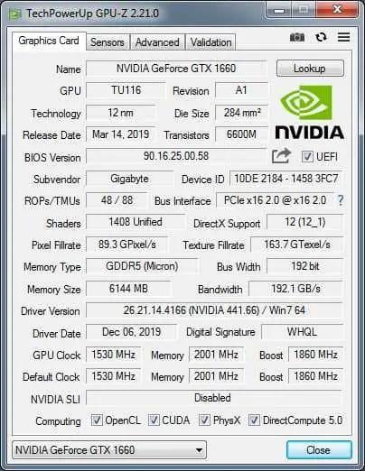 GPU-Z application interface.