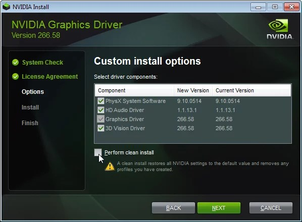 Clean install of NVIDIA drivers