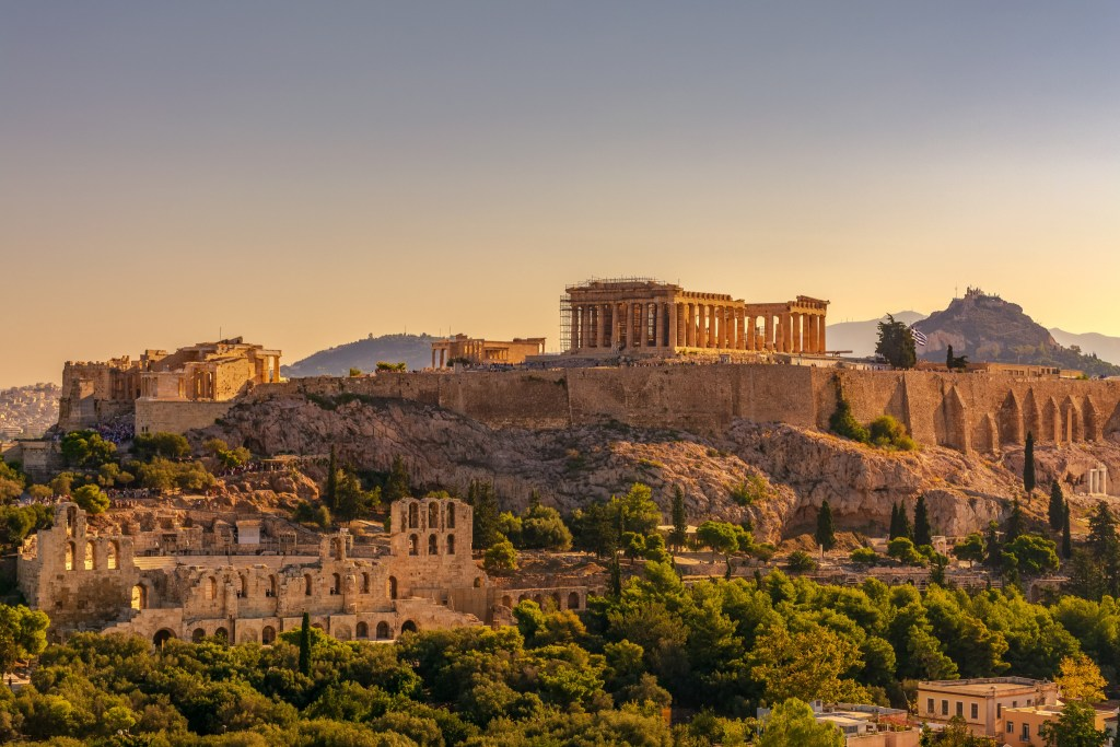 The Parthenon as it sits in the center of the Acropolis looking over the city