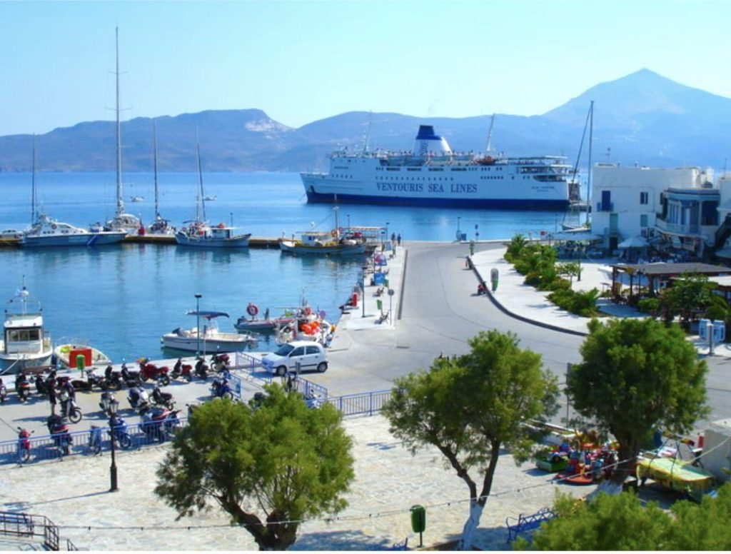 Milos Adamas Port with ferry pulling in