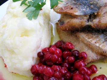 pan fried herring with lingonberries