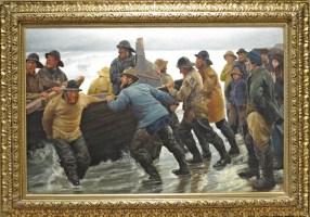 Michael Acher 1881 - fishermen launghing a row boat