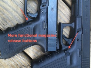 The Glock 17 magazine release is a subtle, yet effective change