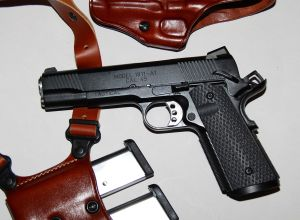 Springfield Armory TRP 1911 Armory Kote shown with Galco Miami Classic II