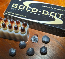 The Speer Gold Dot .30 Carbine ammo is a soft point design that expands beautifully