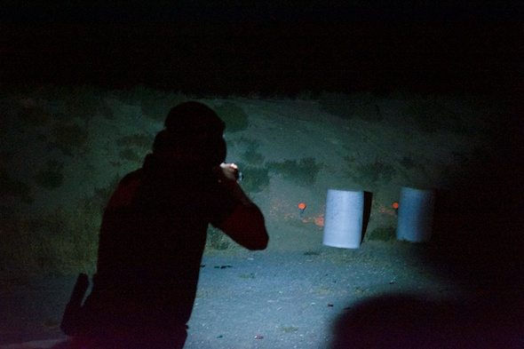 The Stage planners had a great time hiding shotgun targets behind barrels. Twice as hard to find in the dark!