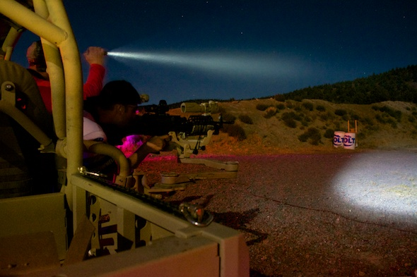 Getting ready to unleash the SAW, which of course was equipped with night vision optics!