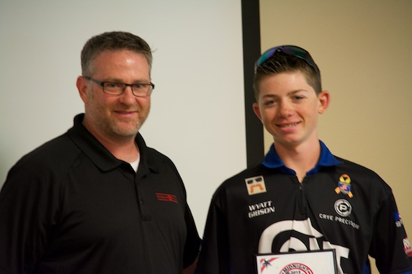 Top Junior Shooter Wyatt Gibson of Team Colt Competition receives his award.