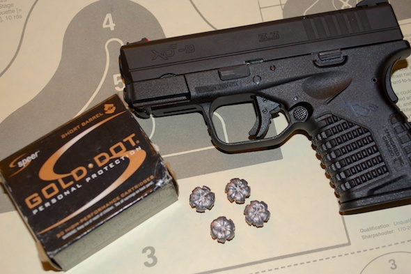 Speer Gold Dot Short Barrel ammunition is designed for guns with 3 1/2 inch or shorter barrels, like this Springfield Armory XD-S