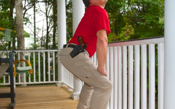 Tactical twerking on the front porch is one reason you might need a retention holster. It's also a great way to scare aware door to door salesmen and neighborhood children.