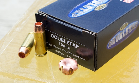 The DoubleTap 10mm TAC-XP load uses a light for caliber 160 grain projectile.
