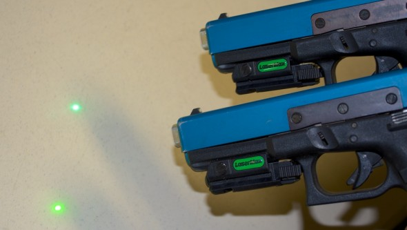 The LaserMax Native Green UNI-MAX (top) is noticeably brighter than traditional DPSS green laser light (bottom)