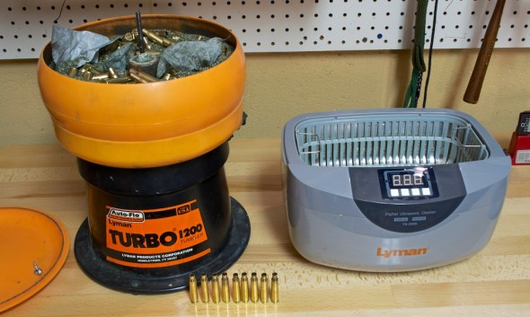 A dry brass tumbler (left) and wet ultrasonic brass cleaner (right), both from Lyman Products.