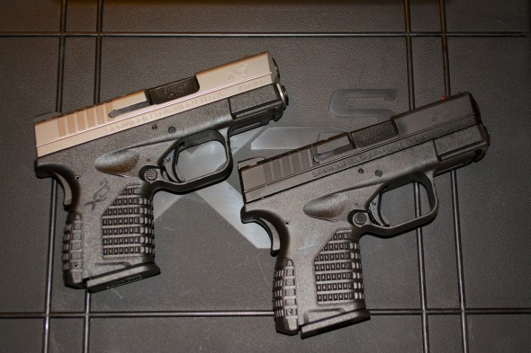 The Springfield Armory XD-S is currently offered in .45 ACP (left) and 9mm (right). We're betting a .40 S&W version will appear at some point. Both current models are available in all black or two-tone finish.