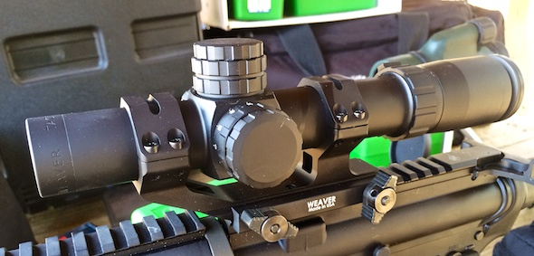 The Weaver Tactical 1-5x24 optic with Weaver SPR 30mm mount. Shown with a Rock River Arms LAR 6.8