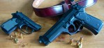 A small gun like a Beretta Tomcat is easy to carry, but a large gun, like this 92FS is oh-so-nice to shoot!