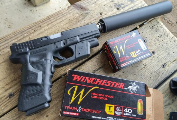 I converted this Glock 31 to a Glock 22 using a Lone Wolf threaded barrel. It worked beautifully with Winchester Train subsonic ammunition.