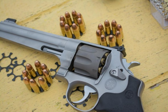 The Smith & Wesson 929 Performance Center revolver is a 9mm. Moon clips make the rimless rounds work.