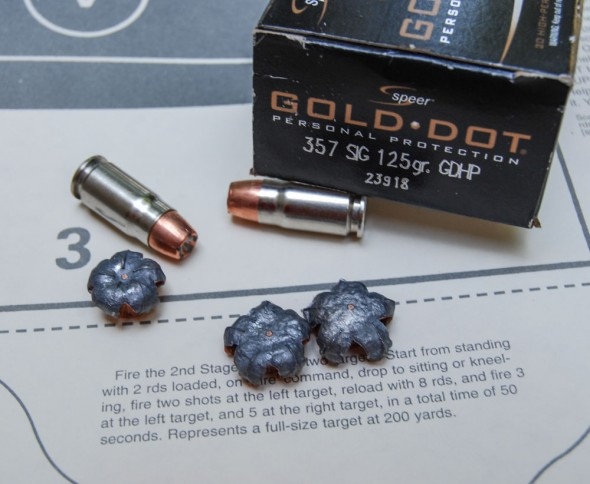 A classic example of a great .357 Sig cartridge - Speer's 125 grain Gold Dot.