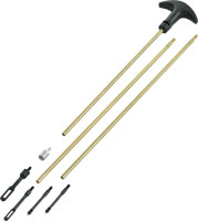 This Outers brass cleaning rod is softer than the steel of your bore and comes in segments, so you can adjust the length for longer or shorter barrels.