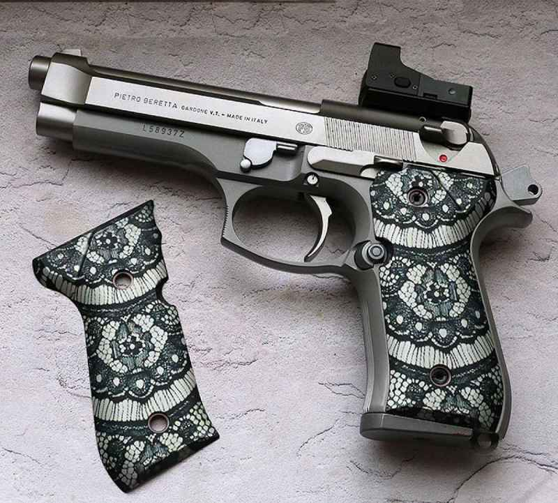Wicked's Black Lace grips for the Beretta 92 are one of their hot sellers. This is what combining fashion and grip design is all about.