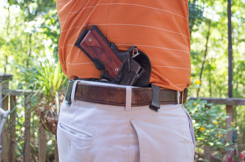 While an inside-the-waistband holster like this Galco KingTuk would normally be covered with an outer shirt or jacket, it's still quickly and easily accessible with one hand.
