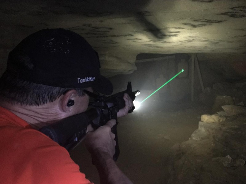 Here's what you most likely WON'T see when using a laser - unless the air is filled with smoke or dust.