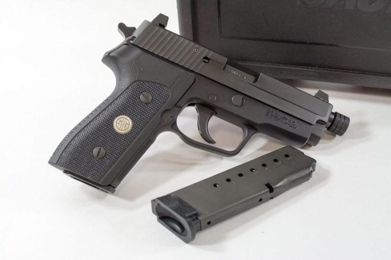 The Sig Sauer P225 A1 comes with two 8-round magazines. It weighs 2 pounds fully loaded.