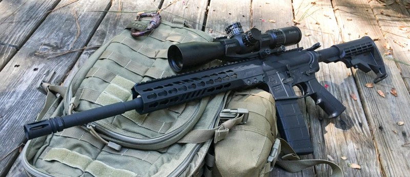 The Armalite M-15 Light Tactical Carbine, shown equipped with a Burris XTR II that the author used for accuracy testing.