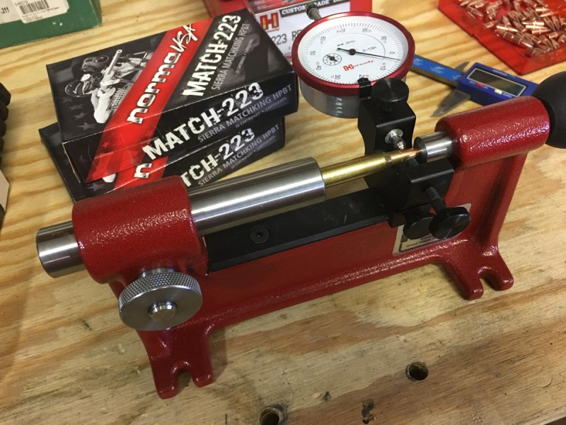 The Hornady Concentricity Gauge tests alignment of the projectile with the case.
