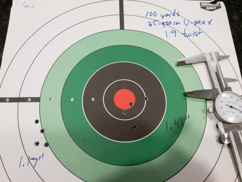 The 35-grain bullets shot well at both 100 and 200 yards from the 1:9 twist barrel.