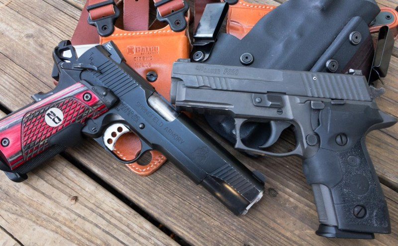Both fine guns, the Springfield Armory 1911 TRP has big bullets and modest capacity, while the 9mm Sig Sauer P229 legion has double the capacity.